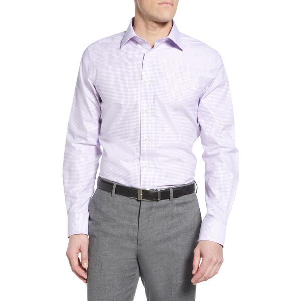 デイビッドドナヒュー メンズ シャツ トップス Luxury Non-Iron Trim Fit Dress Shirt White/Lilac