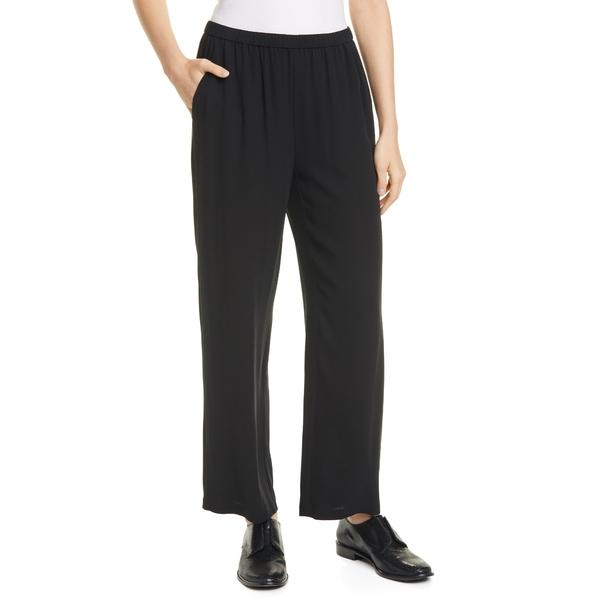 エイリーンフィッシャー レディース カジュアルパンツ ボトムス Straight Leg Silk Ankle Pants Black