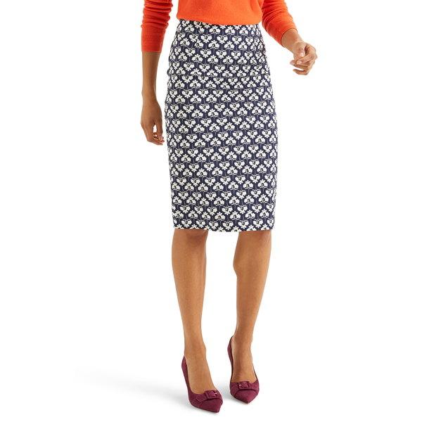 ボーデン レディース スカート ボトムス Richmond Stretch Cotton Pencil Skirt Navy Petal Sprig