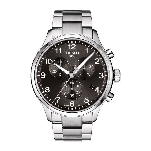 ティソット メンズ ブレスレット・バングル・アンクレット アクセサリー Chrono XL Collection Chronograph Bracelet Watch, 45mm Silver/ Black/ Silver