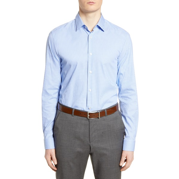 ボス メンズ シャツ トップス Slim Fit Houndstooth Travel Dress Shirt Light Blue