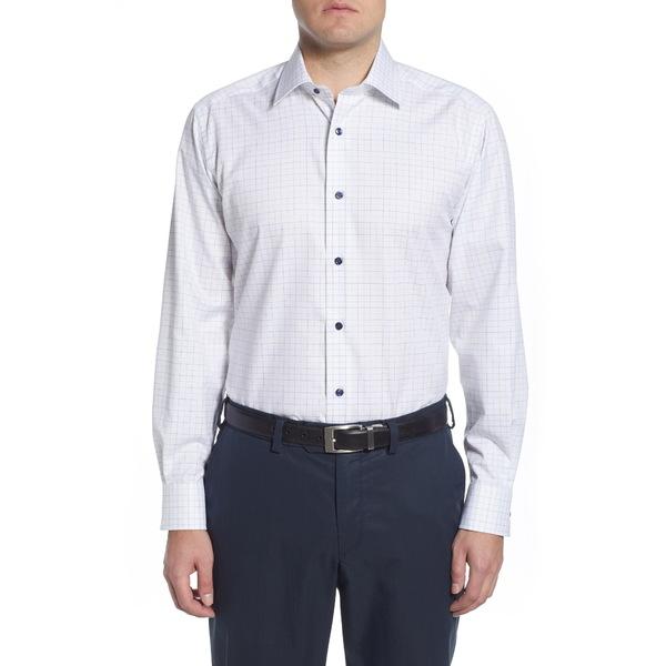 デイビッドドナヒュー メンズ シャツ トップス Regular Fit Windowpane Dress Shirt White/Green