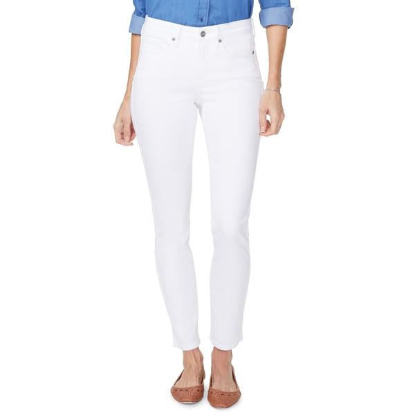 エヌワイディージェイ レディース デニムパンツ ボトムス Alina High Waist Side Slit Ankle Skinny Jeans Optic White