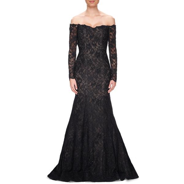 ラフェム レディース ワンピース トップス Off the Shoulder Long Sleeve Lace Gown Black