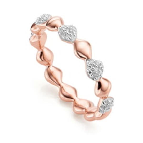 モニカヴィナダー レディース リング アクセサリー Nura Teardrop Diamond Eternity Ring Rose Gold/ Diamond