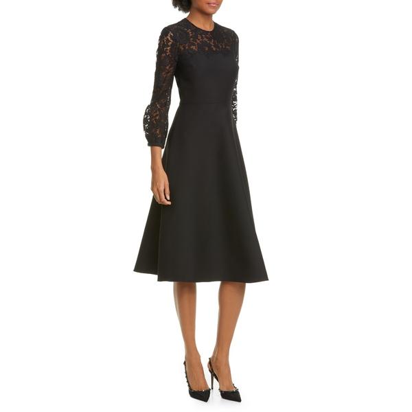ヴァレンティノ レディース ワンピース トップス Lace Contrast Wool & Silk Midi Dress Nero