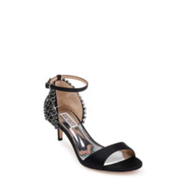 バッドグレイミッシカ レディース サンダル シューズ Badgley Mischka Adora Embellished Kitten Heel Sandal Black Satin