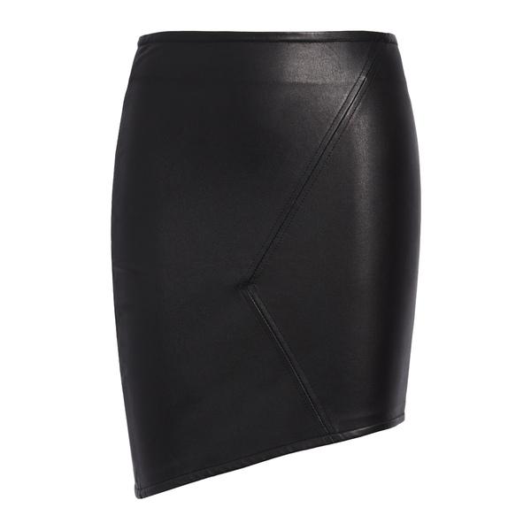 バッシュ レディース スカート ボトムス Party Asymmetrical Leather Skirt Black