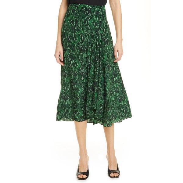 ヴェロニカ ベアード レディース スカート ボトムス Ramos Snake Print Silk Midi Skirt Green