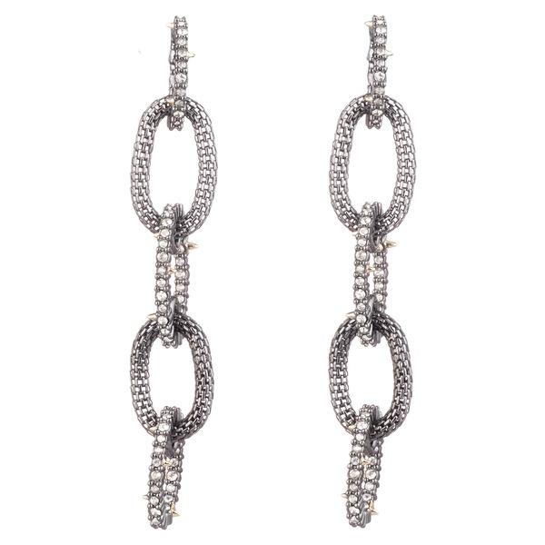 アレクシス ビッター レディース ピアス&イヤリング アクセサリー Crystal Encrusted Mesh Chain Earrings Black
