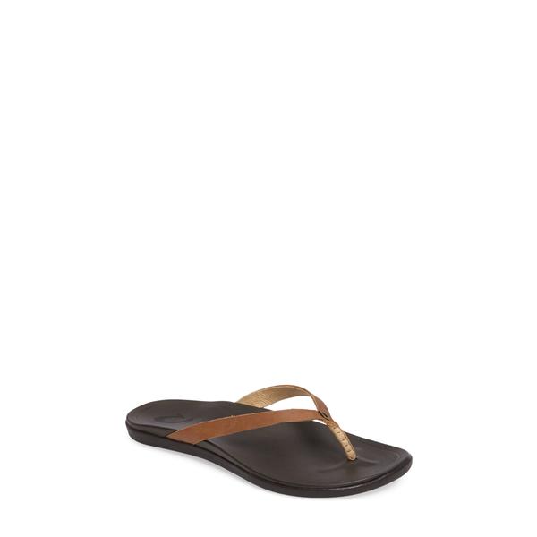 オルカイ レディース サンダル シューズ 'Ho Opio' Leather Flip Flop Sahara/ Dark Java Leather
