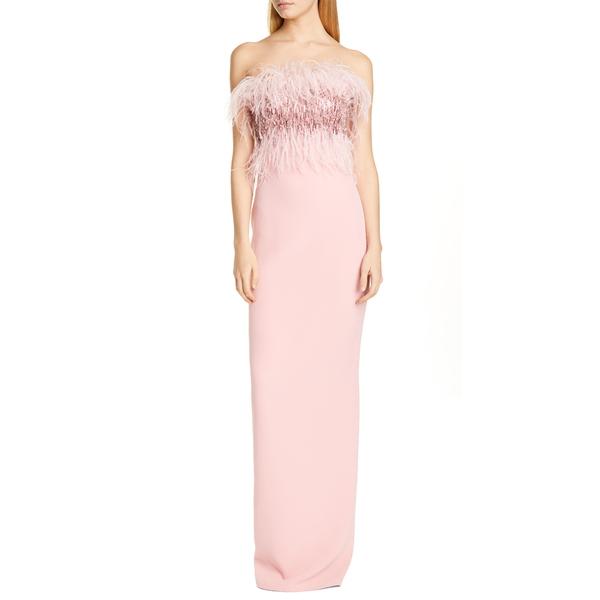 パメラ ローランド レディース ワンピース トップス Crystal Feather Bodice Column Gown Pale Rose