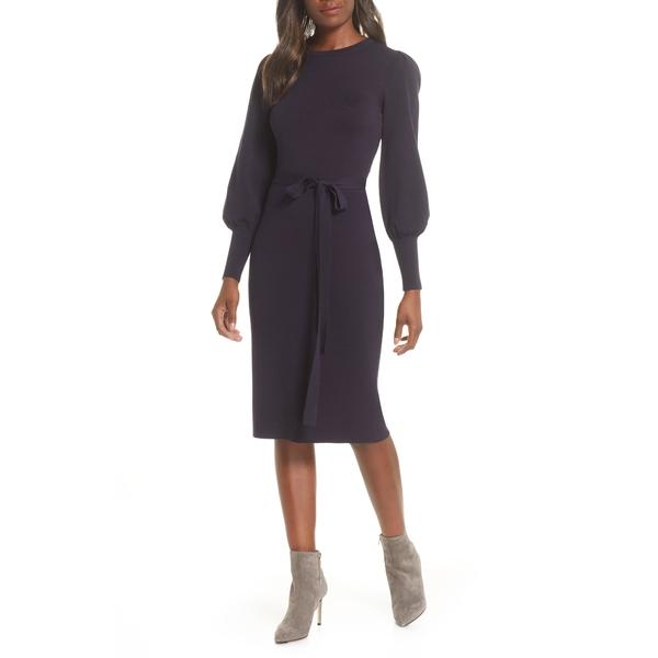 エリザジェイ レディース ワンピース トップス Elilza J Long Sleeve Belted Sweater Dress Navy