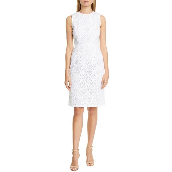 キャロライナヘレラ レディース ワンピース トップス Guipure Lace Sheath Dress White