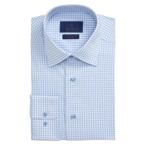 デイビッドドナヒュー メンズ シャツ トップス Trim Fit Performance Stretch Check Dress Shirt White/Blue
