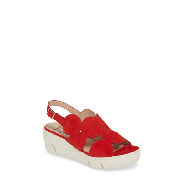 ワンダーズ レディース サンダル シューズ Platform Sandal Ante Rojo Suede