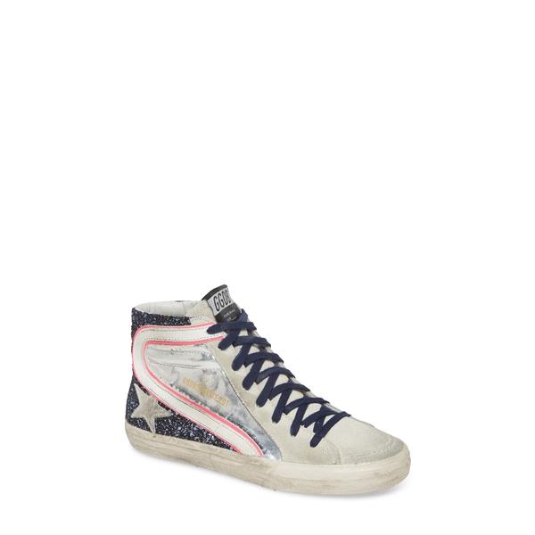 ゴールデングース レディース スニーカー シューズ Slide High Top Sneaker Blue Glitter