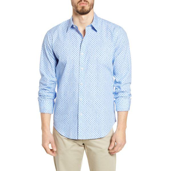 ブガッチ メンズ シャツ トップス Shaped Fit Floral Button-Up Shirt Classic Blue