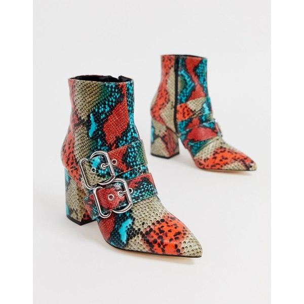 ミスセルフフリッジ レディース ブーツ&レインブーツ シューズ Miss Selfridge pointed boots with double buckle in snake print Snake