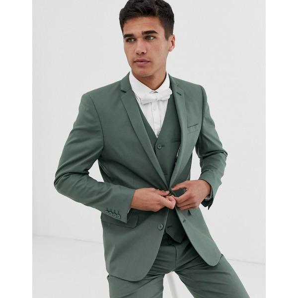 エイソス メンズ ジャケット&ブルゾン アウター ASOS DESIGN slim suit jacket in sage green Green