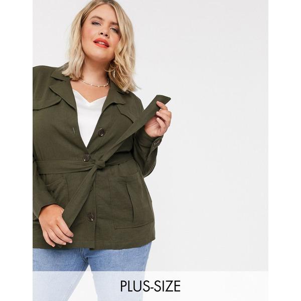 シンプリービー レディース ジャケット&ブルゾン アウター Simply Be belted utility jacket in khaki Khaki