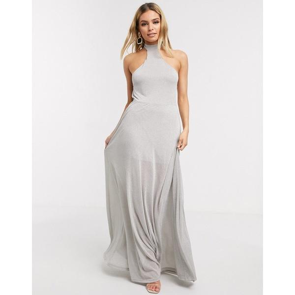 ライオネス レディース ワンピース トップス Lioness halter maxi dress in silver Silver