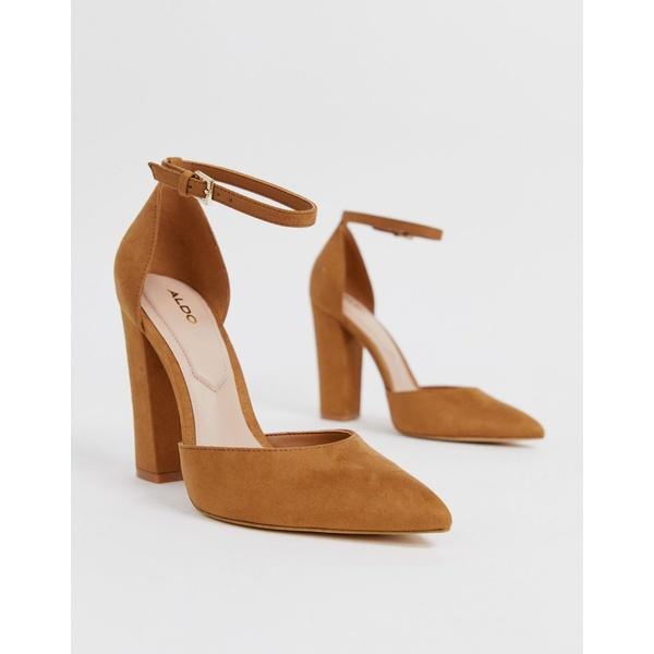 アルド レディース ヒール シューズ ALDO Nicholes block heeled pumps with ankle strap in brown Brown