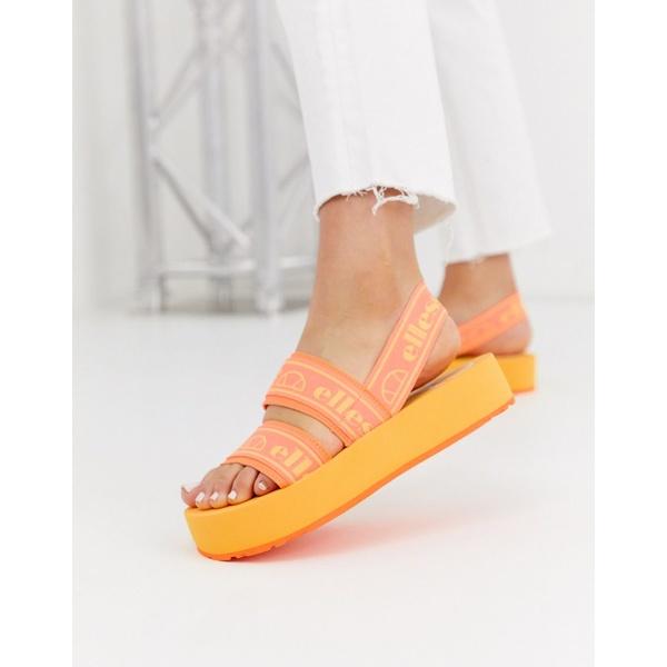 エレッセ レディース サンダル シューズ Ellesse giglio flatform logo sandal in orange Neon orange