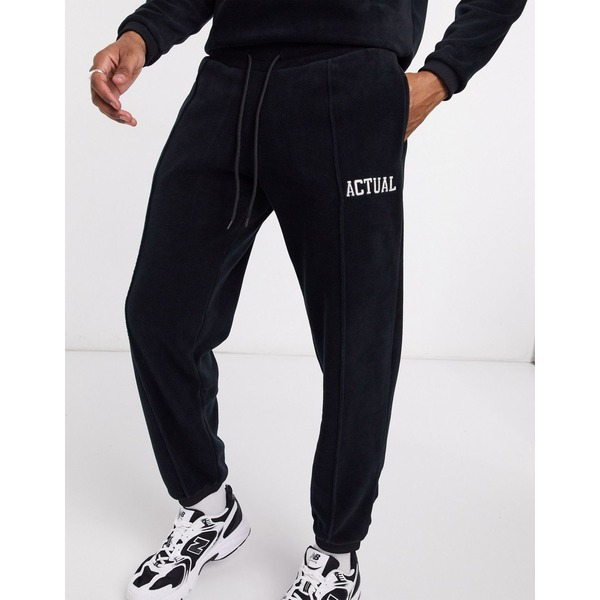 エイソス メンズ カジュアルパンツ ボトムス ASOS DESIGN Actual two-piece slim fit sweatpants in polar fleece with embroidered logo Black