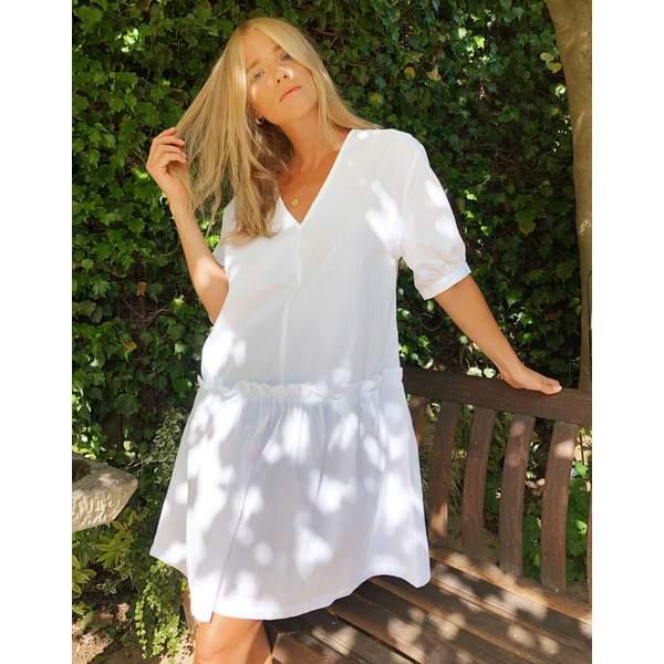 モンキ レディース ワンピース トップス Monki Robin organic poplin cotton smock dress in white White