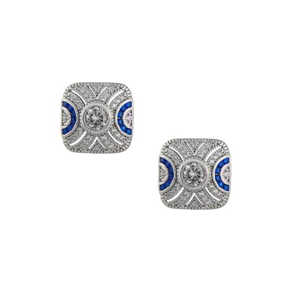 シージーバイケネスジェイレーン レディース アクセサリー ピアス イヤリング BLUE-SILVER おすすめ特集 全商品無料サイズ交換 Earrings Milgrain 新着セール Stud CZ Pave