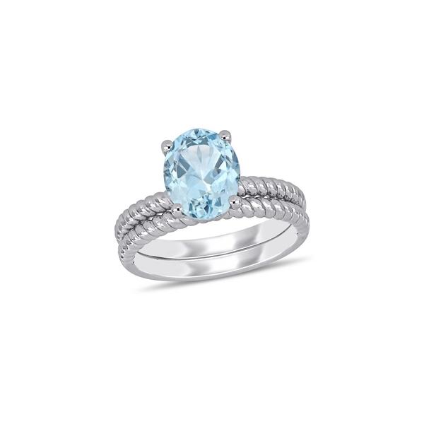 ソナティナ レディース リング アクセサリー 14K White Gold & Aquamarine Twist Bridal Ring Set White Gold