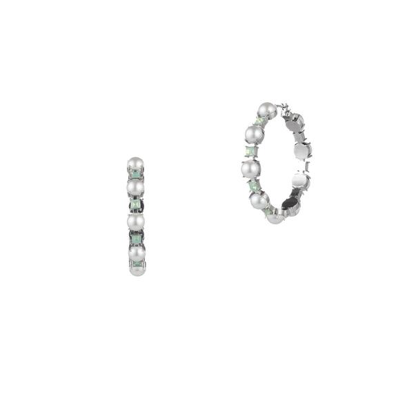 キャロリー レディース ピアス&イヤリング アクセサリー Marlene Faux Pearl and Crystal Hoop Earrings Silver