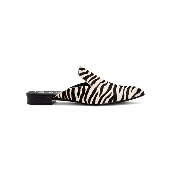 カルバンクライン レディース オックスフォード シューズ Moise Calf Hair Slip-On Mules Black White
