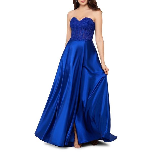ブロンディナイト レディース ワンピース トップス Strapless Lace Corset Gown Sapphire