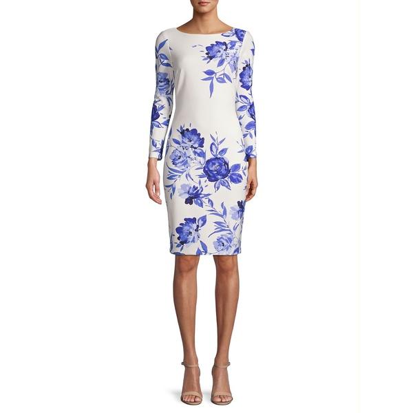 エリザジェイ レディース ワンピース トップス Floral Long-Sleeve Sheath Dress Blue Floral