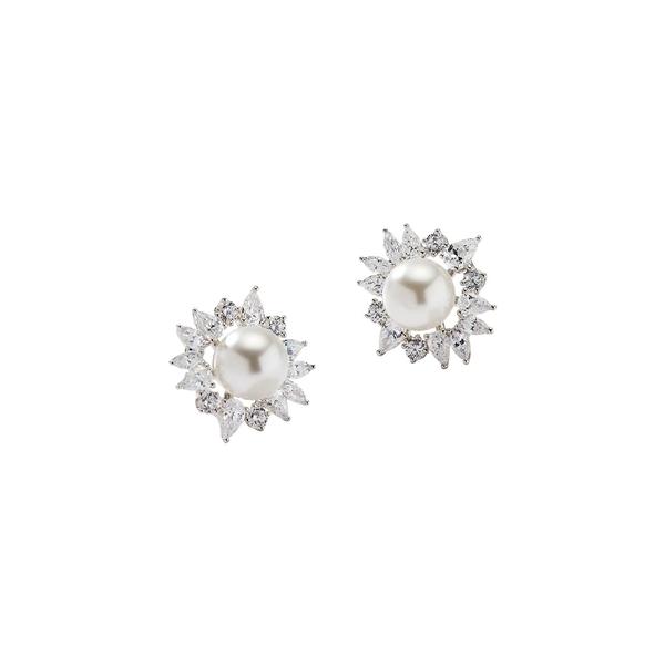 ナディール レディース ピアス&イヤリング アクセサリー Rhodium-Plated, 8MM Freshwater Pearl & Crystal Stud Earrings Silver