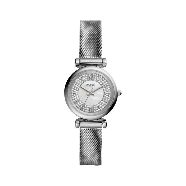 フォッシル レディース 腕時計 アクセサリー Carlie Mini 3-Hand Stainless Steel & Crystal Bracelet Watch Silver