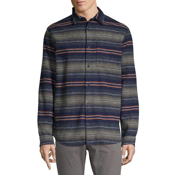 ジャック アンド ジョーンズ メンズ シャツ トップス Striped Flannel Jacquard Shirt Navy Blazer