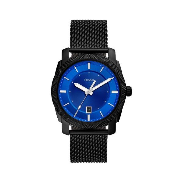 フォッシル メンズ 腕時計 アクセサリー Machine Stainless Steel Bracelet Mesh 3-Hand Watch Black