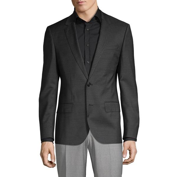 フューゴ メンズ ジャケット&ブルゾン アウター Henry Slim-Fit Wool Suit Jacket Black