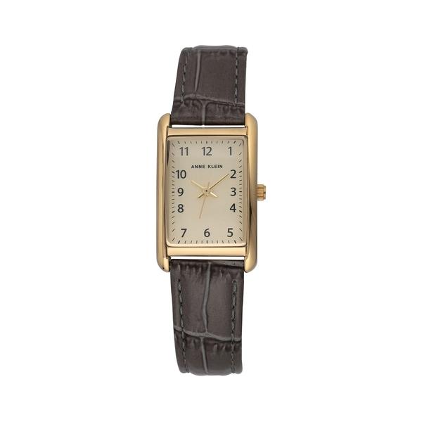 アンクライン レディース 腕時計 アクセサリー 3-Hand Goldtone & Croco-Embossed Leather-Strap Watch Brown