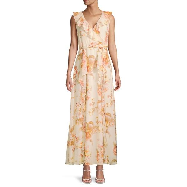 カールラガーフェルド レディース ワンピース トップス Floral-Print Tie-Waist Ruffle Dress Bananna Multi