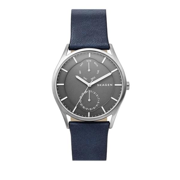 スカーゲン レディース 腕時計 アクセサリー Holst Titanium Multifunction Leather-Strap Watch Black
