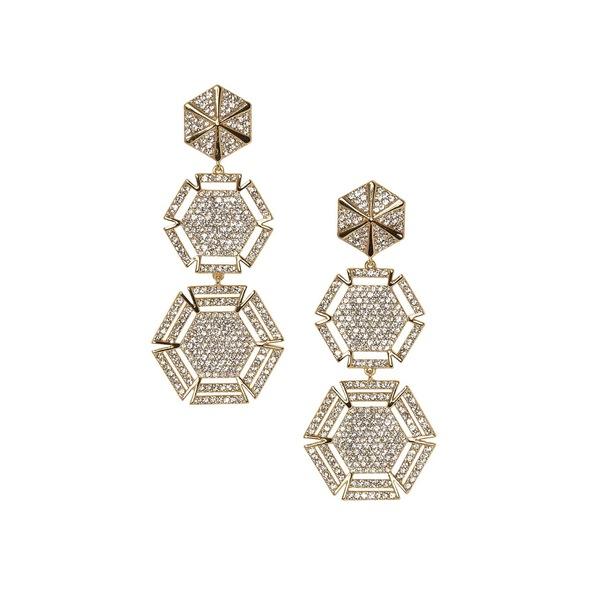 ヴィンスカムート レディース ピアス&イヤリング アクセサリー Orbital Geometrics Goldtone & Pavé Crystal Triple Drop Earrings Gold