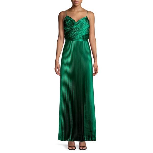 ベッツィ アンド アダム レディース ワンピース トップス Sleeveless Pleated Gown Emerald