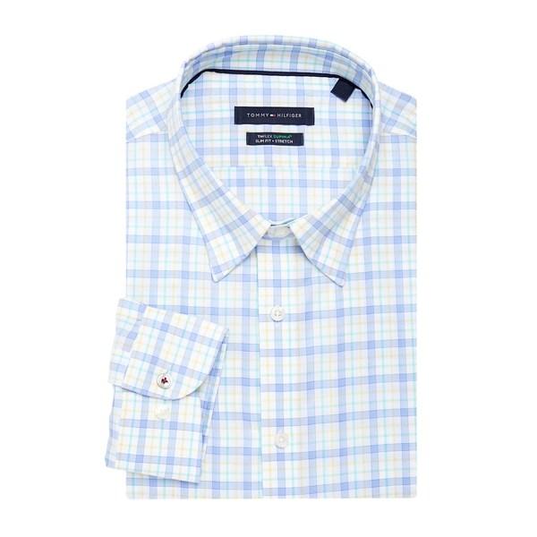 トミー ヒルフィガー メンズ シャツ トップス Slim-Fit Plaid-Print Dress Shirt Yellow Multi