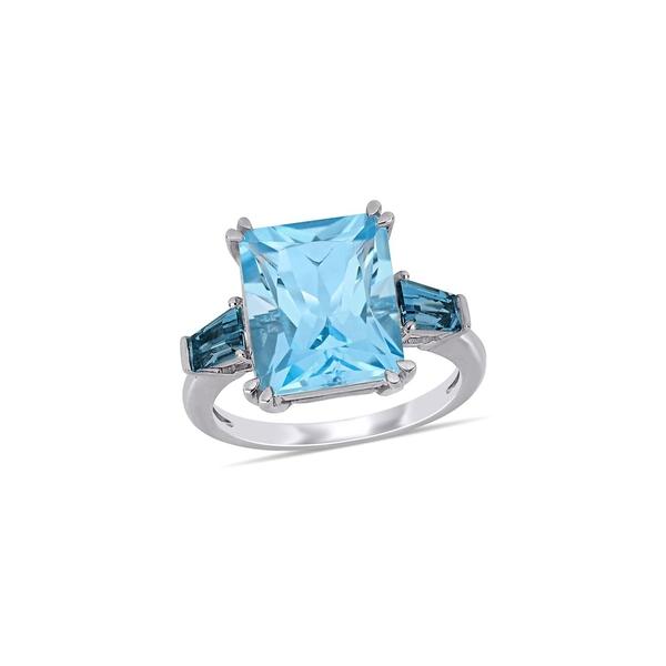 ソナティナ レディース リング アクセサリー 14K White Gold & Blue Topaz 3-Stone Ring Blue