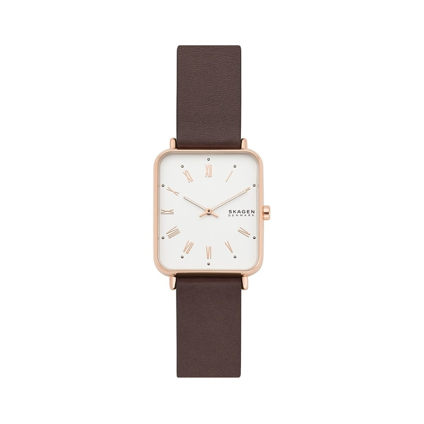 スカーゲン レディース 腕時計 アクセサリー Ryle Two-Hand Rose Goldtone Stainless Steel Case & Leather-Strap Watch Brown