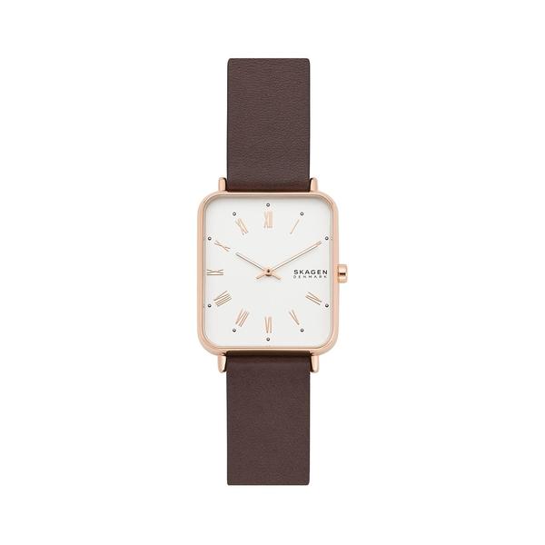 スカーゲン レディース 腕時計 アクセサリー Ryle Two-Hand Rose Goldtone Stainless Steel Case & Leather-Strap Watch Brown